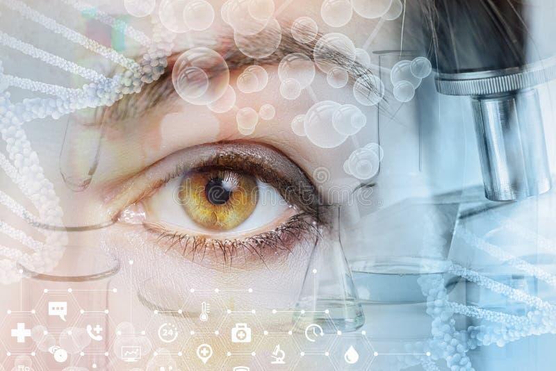Ludzki oko za dochodzeniami symbolizuje symbole zdjęcie stock