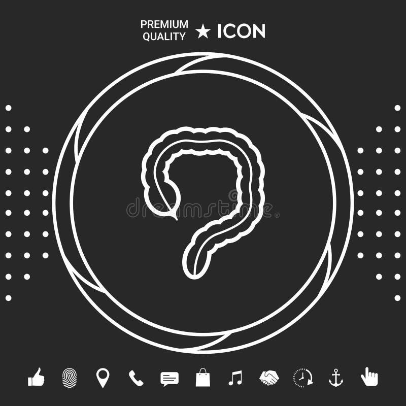Ludzki organ - wielkiego jelita ikona Graficzni elementy dla twój designt ilustracja wektor