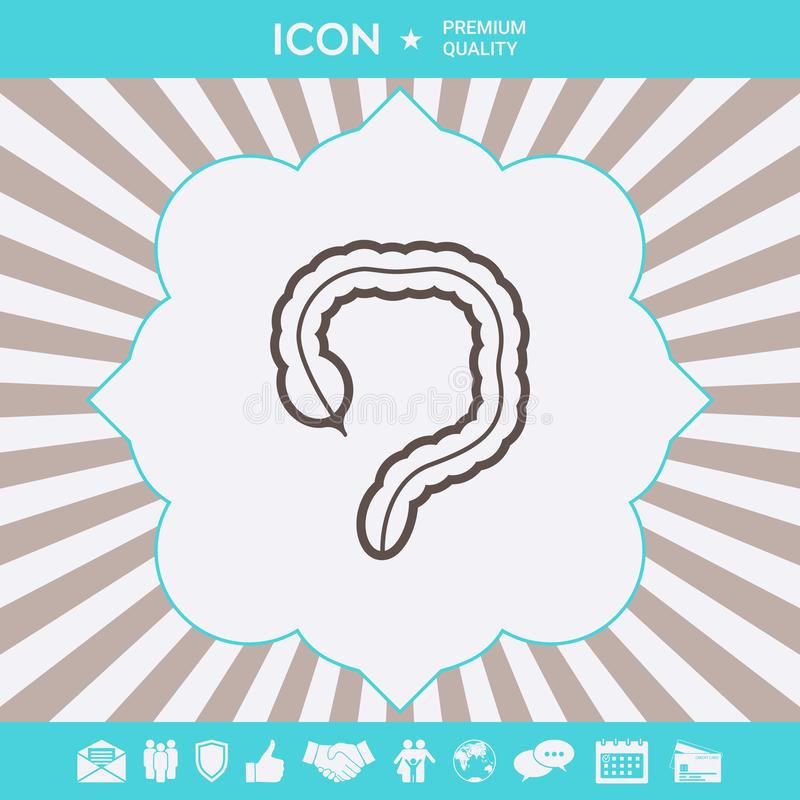 Ludzki organ - wielkiego jelita ikona Graficzni elementy dla tw?j projekta ilustracja wektor