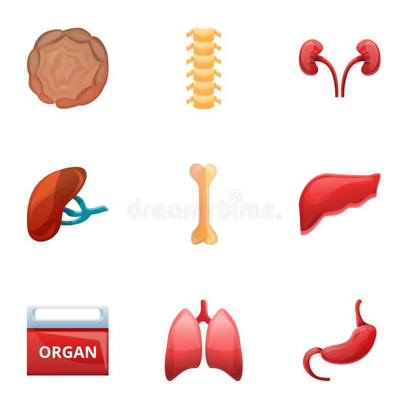 Ludzki organowego przeszczepu ikony set, kreskówka styl royalty ilustracja