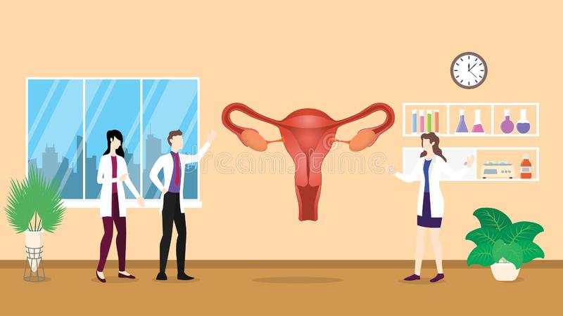 Ludzki ovarium anatomii struktury opieki zdrowotnej checkup analizy identyfikowanie doktorskimi ludźmi na szpitalu - ilustracji