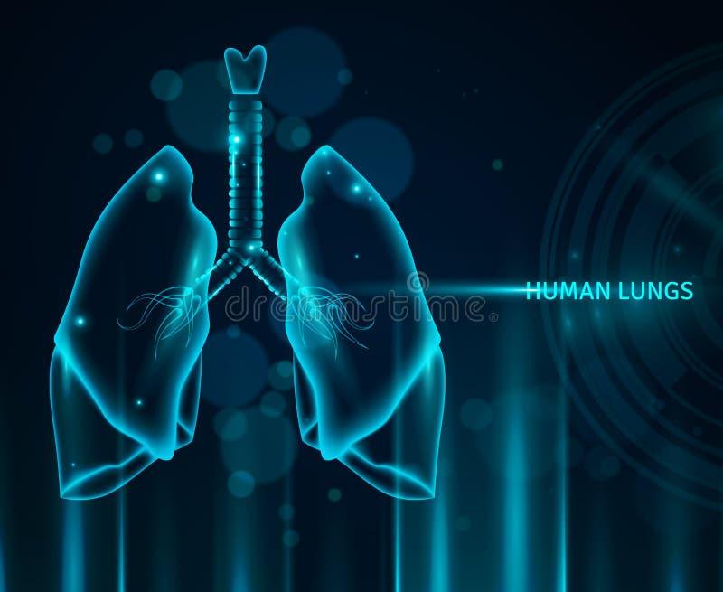 Ludzki płuca tło ilustracja wektor