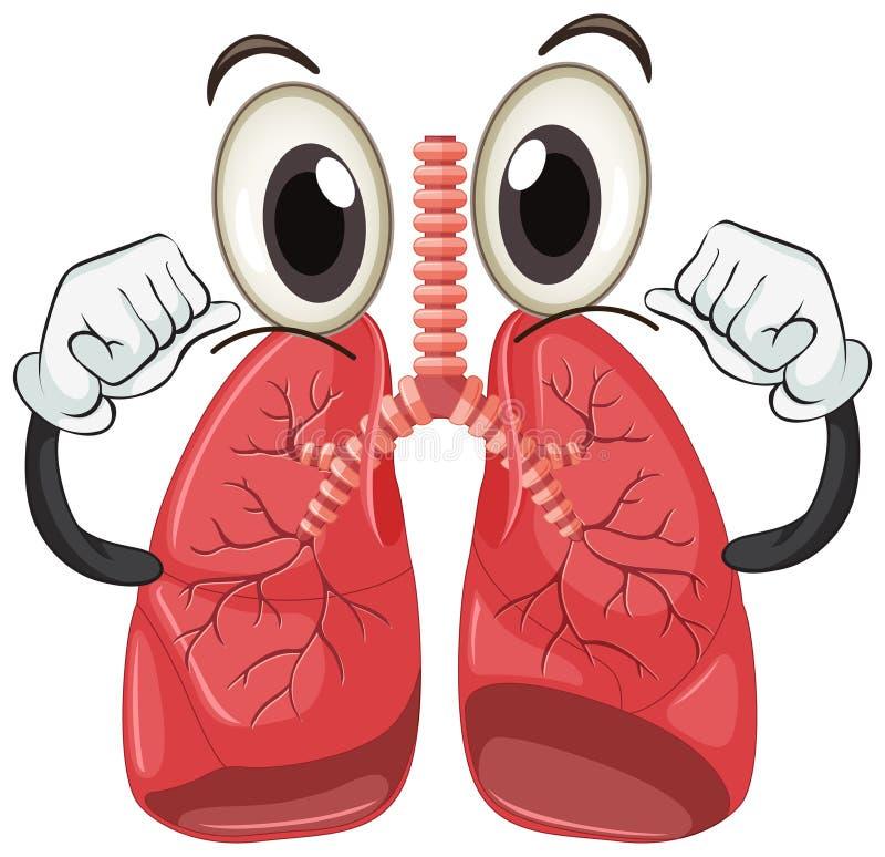 Ludzki płuco z twarzą i rękami ilustracja wektor