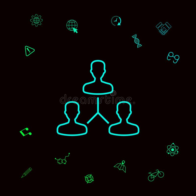 Ludzki podłączeniowy symbol Kreskowa ikona Graficzni elementy dla twój designt royalty ilustracja