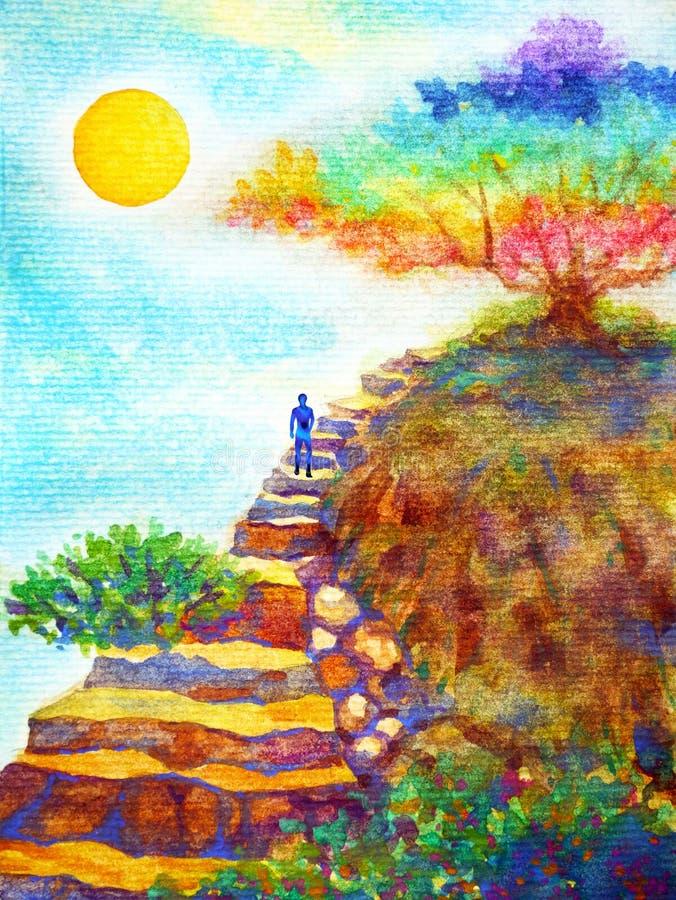 Ludzki potężny energetyczny odprowadzenie na rockowym schodku pod kolorowym drzewa i niebieskiego nieba akwareli obrazu ilustracy royalty ilustracja