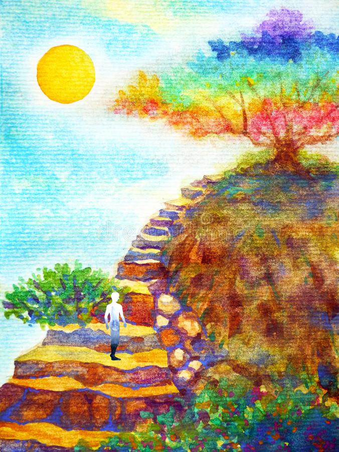 Ludzki potężny energia stojak na rockowym schodku kolorowego drzewnego niebieskie niebo akwareli obrazu projekta ilustracyjna ręk royalty ilustracja
