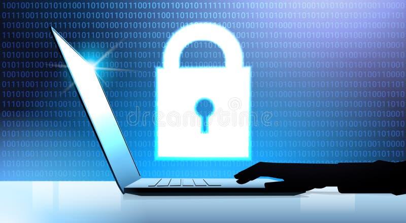 Ludzki ręka laptopu kłódki dane ochrony prywatności pojęcie GDPR Cyber ochrony sieci tło osłaniać ogłoszenie towarzyskie ilustracji
