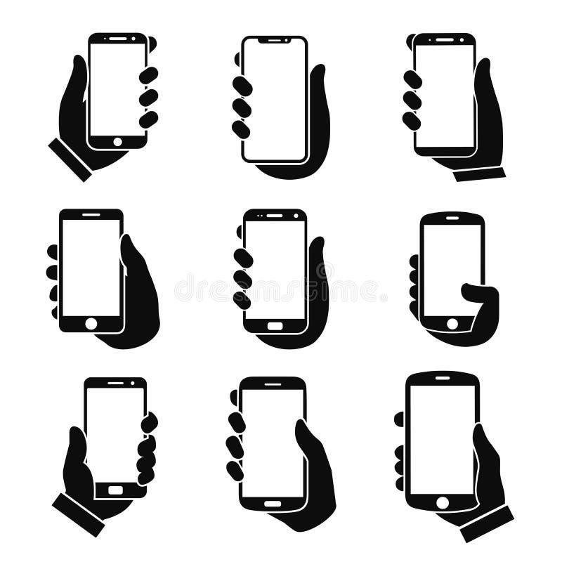 Ludzki ręki mienia smartphone ikony set Telefonu mienia ikony płaski znak Telefon w ręce - wektor ilustracja wektor