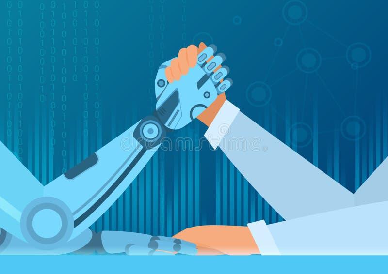 Ludzki ręki zapaśnictwo z robotem Walka mężczyzna vs robot Sztucznej inteligenci wektorowy ilustracyjny pojęcie ilustracji