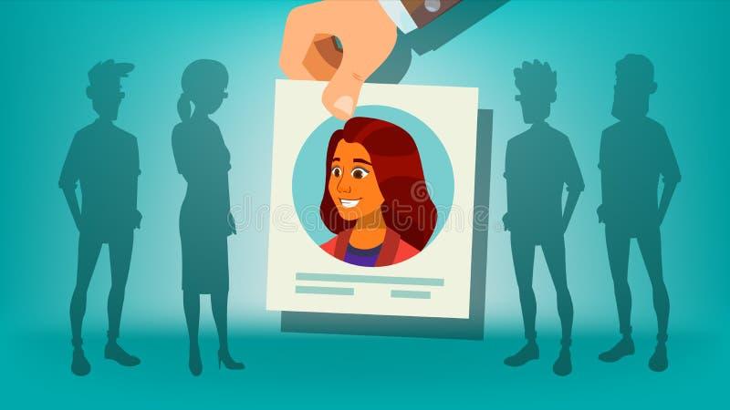 Ludzki Rekrutacyjny wektor Kobieta Ręki zrywania kobieta tłumy na stanowisko kobieciarz kawowa biznesowej megafonu zespołu Kandyd royalty ilustracja