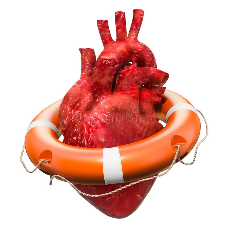 Ludzki serce z lifebuoy, kierowym gacenia pojęciem, świadczenia 3 d ilustracja wektor