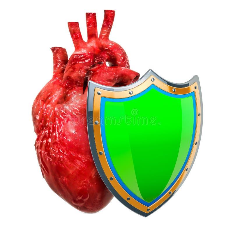 Ludzki serce z osłoną, kierowy gacenia pojęcie świadczenia 3 d royalty ilustracja