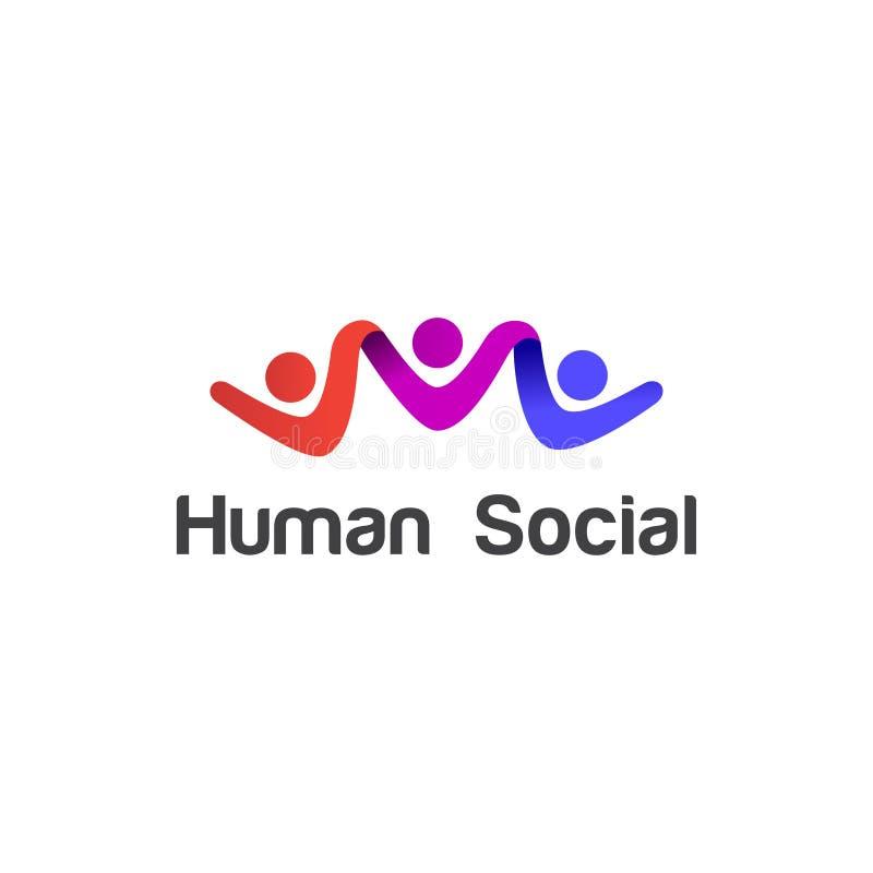 Ludzki socjalny, jedność, wpólnie, związek, powiązanie logo projekta szablon ilustracja wektor