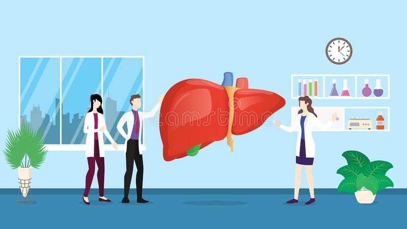 Ludzki wątrobowy opieki zdrowotnej checkup analizy identyfikowanie doktorskimi ludźmi na szpitalu - wektor ilustracji