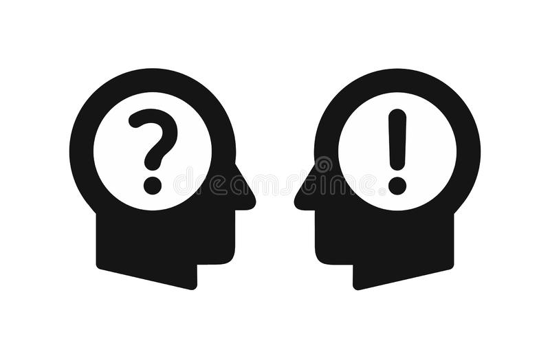 Ludzkich głów profili/lów proste czarne ikony z okrzykiem i znakami zapytania, dialog pojęcie, pytanie i odpowiedź ilustracji
