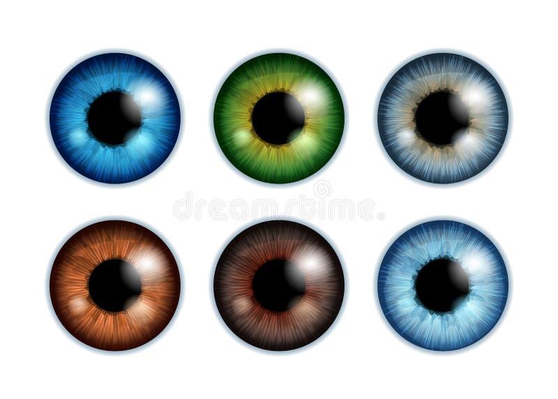 Ludzkich gałek ocznych irysowi ucznie ustawiają - asortowanych kolory ilustracji