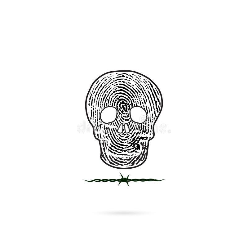 Ludzkie czaszek sylwetki z odcisku palca i drutu kolczastego ikoną royalty ilustracja