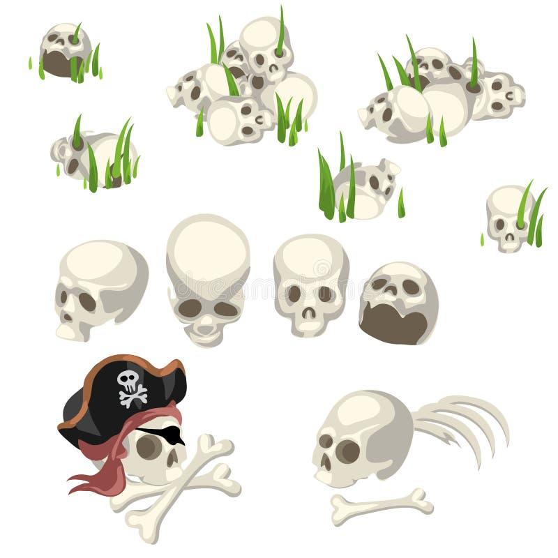 Ludzkie czaszki i piratów symbole, kreskówka styl ilustracja wektor