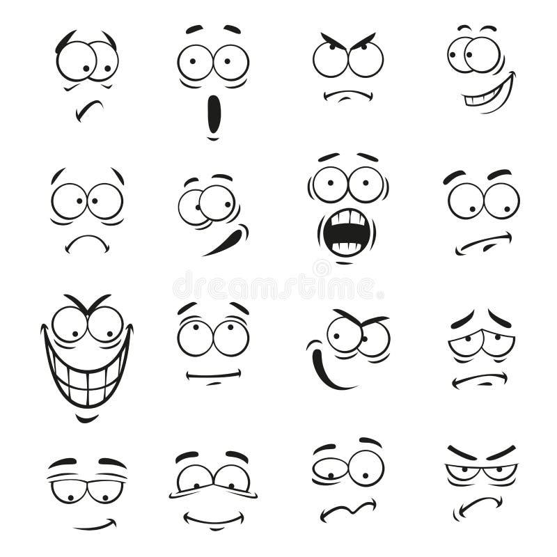 Ludzkie kreskówki emoticon twarze z wyrażeniami royalty ilustracja
