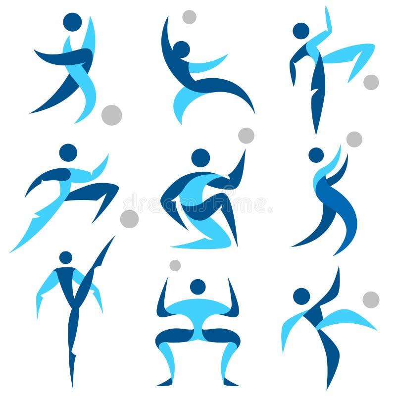 Ludzkie loga sporta ikony ustawiać ilustracji