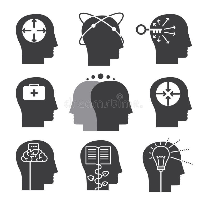 Ludzkie myślące ikony, set umysłowe zdolność ilustracji