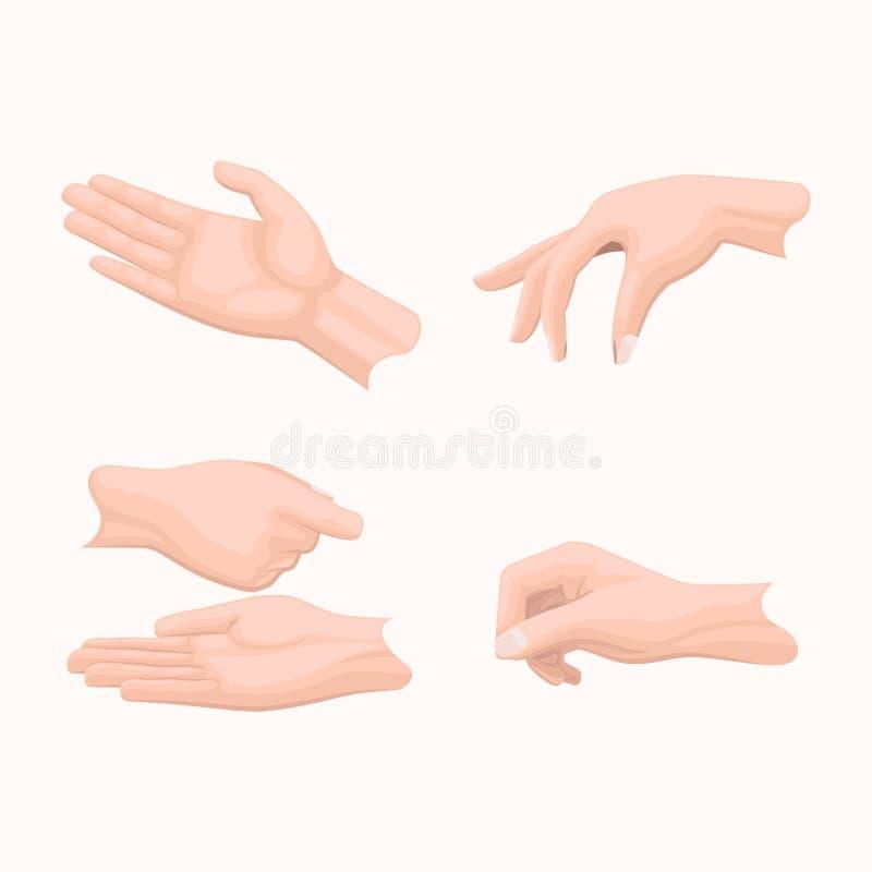 Ludzkie palmy Trzyma gestów Płaskich wektory Ustawiający royalty ilustracja