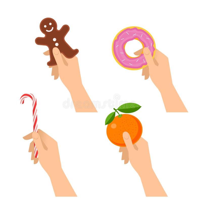Ludzkie ręki trzymają boże narodzenia ciastka, cukierek trzcina, słodki pączek, blaszecznica royalty ilustracja