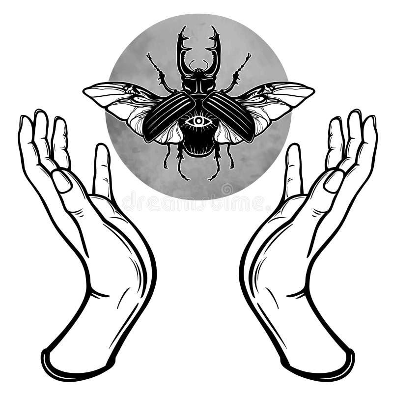 Ludzkie ręki trzymają fantastycznej pluskwy Symbole księżyc Mistycyzm, ezoteryk, czarnoksięstwo ilustracji