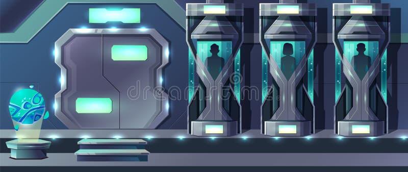 Ludzkiego klonowania kreskówki wektoru laborancki pojęcie royalty ilustracja