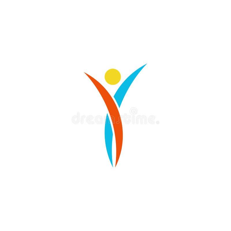 Ludzkiego logo tana abstrakcjonistyczny ciało, sprawność fizyczna sporta mężczyzny zwycięzca, mockup pomysłu sporta rock and roll ilustracja wektor