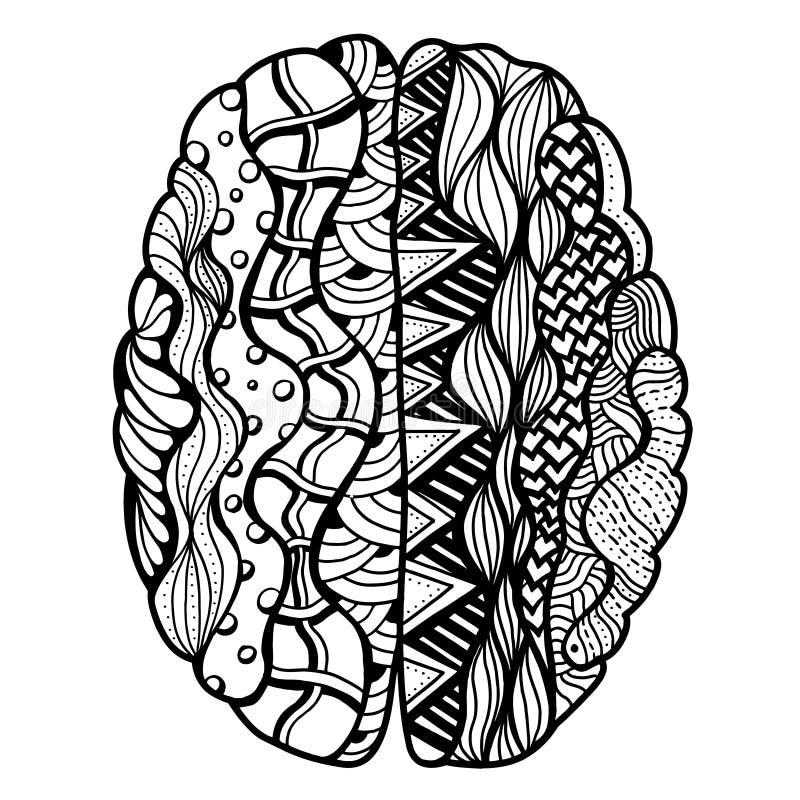 Ludzkiego Mózg Doodle ilustracja wektor