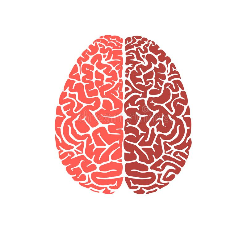 Ludzkiego mózg kształta edukacji ikony płaski projekt royalty ilustracja