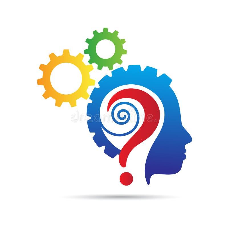 Ludzkiego mózg umysłu przekładni znak zapytania logo ilustracja wektor