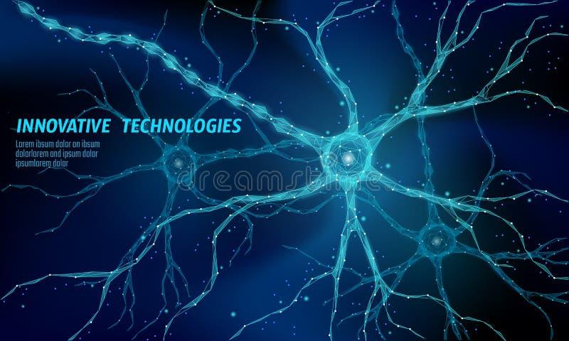 Ludzkiego neuronu anatomii niski poli- pojęcie Sztuczny neural sieci technologii nauki medycyny obłoczny obliczać AI 3D ilustracji