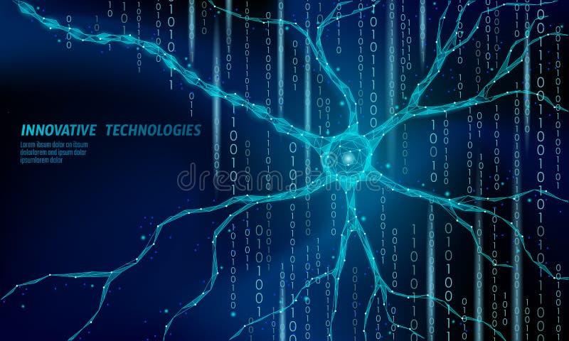 Ludzkiego neuronu anatomii niski poli- pojęcie Sztuczny neural sieci technologii nauki medycyny obłoczny obliczać AI 3D ilustracja wektor