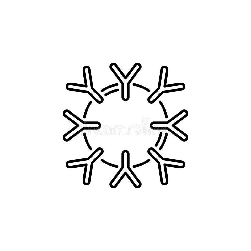 Ludzkiego organu systemu odpornościowego konturu ikona Znaki i symbole mogą używać dla sieci, logo, mobilny app, UI, UX ilustracji