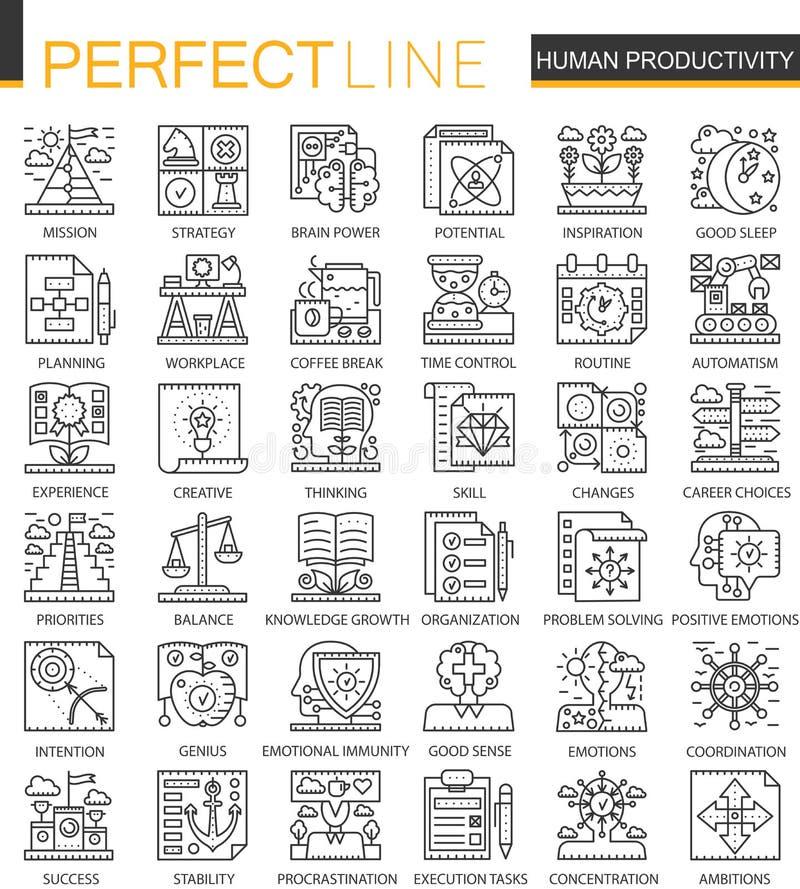 Ludzkiego produktywność konturu pojęcia mini symbole Czasu zarządzanie i dyscypliny nowożytnego uderzenia liniowe stylowe ilustra ilustracji