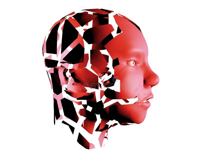 Ludzkiej głowy czerwony abd łamający na kawałkach jako symbol agresja, furia i złość, ilustracji