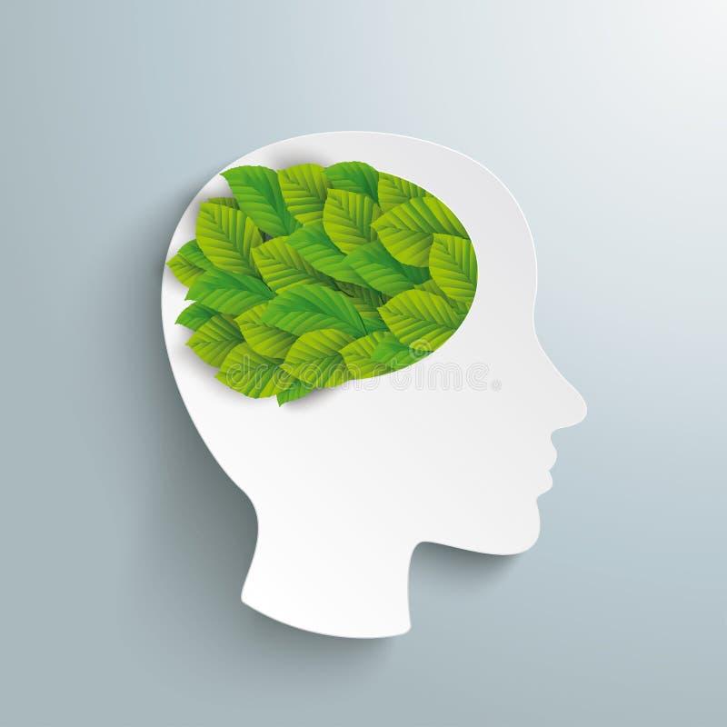 Ludzkiej głowy mózg zieleni liście ilustracja wektor