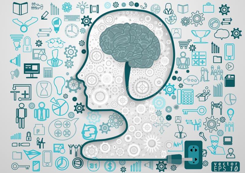 Ludzkiej głowy nowożytnego projekta pojęcia i pomysłu Biznesowa Wektorowa ilustracja z ikoną, mózg ilustracja wektor