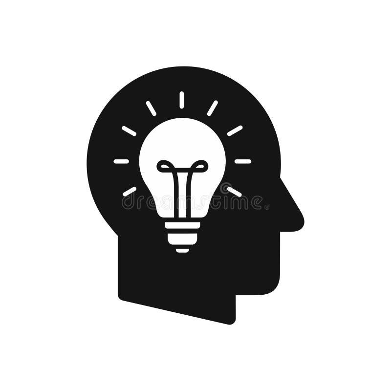 Ludzkiej głowy profil z żarówka symbolem, kreatywnie pomysłu pojęcia prosta czarna ikona royalty ilustracja