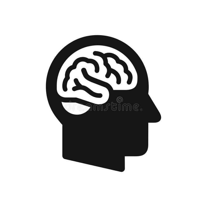 Ludzkiej głowy profil z móżdżkowym symbolem, prosta czarna ikona royalty ilustracja
