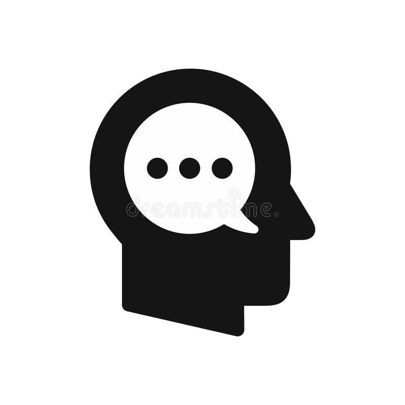 Ludzkiej głowy profil z mowa bąbla symbolem, wewnętrzny monolog, myśli pojęcia prosta czarna ikona royalty ilustracja