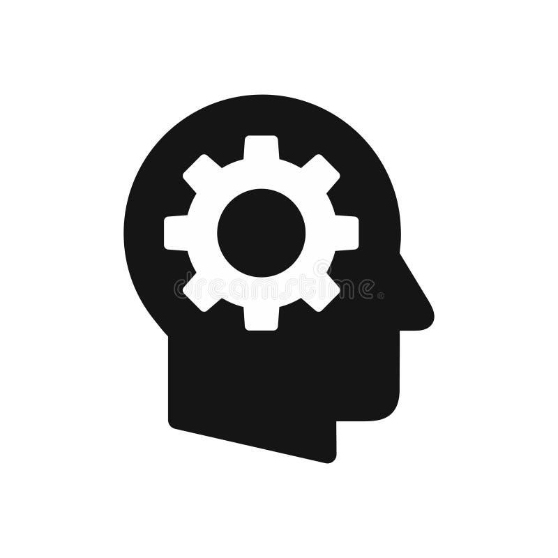 Ludzkiej głowy profil z przekładni koła symbolem, headwork prosta czarna ikona ilustracja wektor