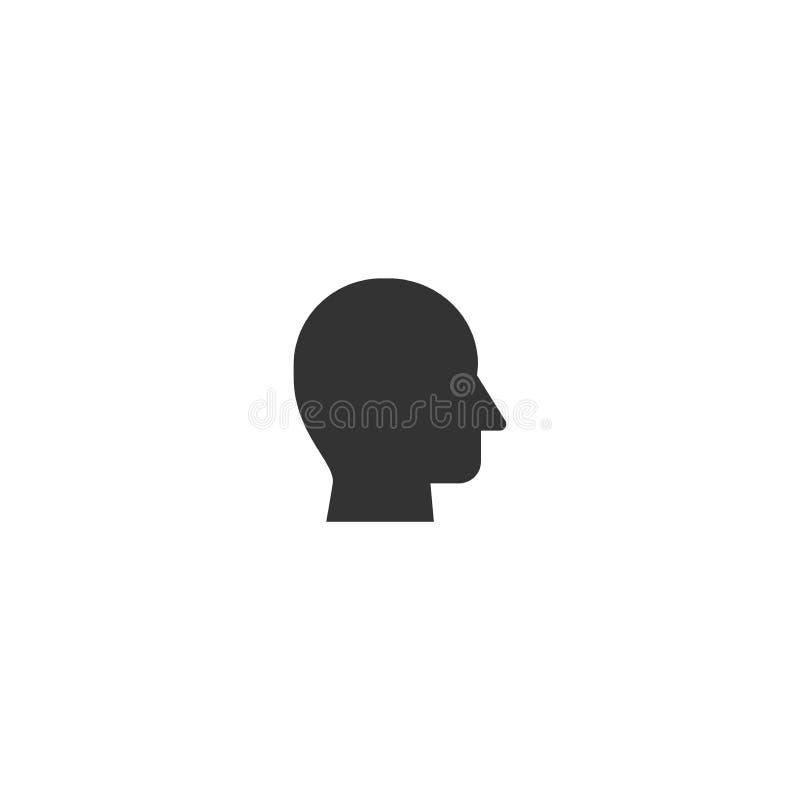 Ludzkiej głowy profilu czerni sylwetki stylizowana ikona ilustracja wektor
