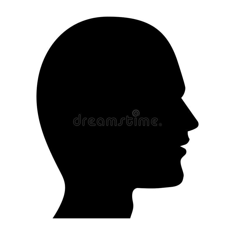 Ludzkiej głowy sylwetka czarny i biały ilustracji