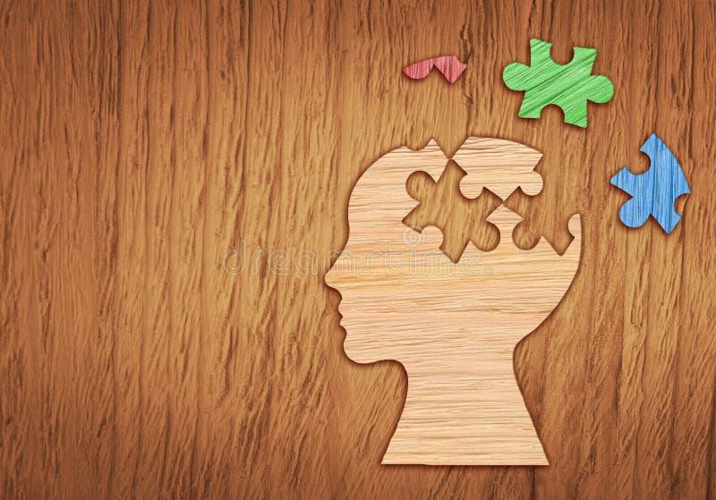 Ludzkiej głowy sylwetka, zdrowie psychiczne symbol Łamigłówka zdjęcia royalty free