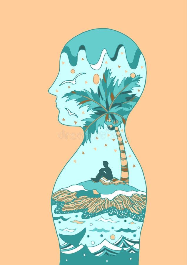 Ludzkiej głowy władzy spirytusowa energia łączy wszechrzeczy wektor ilustracji