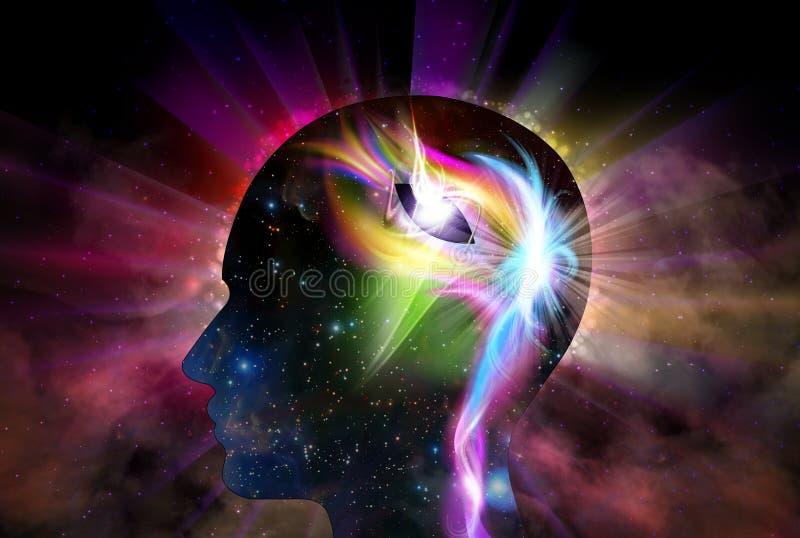 Ludzkiej g?owy Wszechrzeczej inspiracji ?wiadomo?ci O?wieceniowa duchowo?? royalty ilustracja