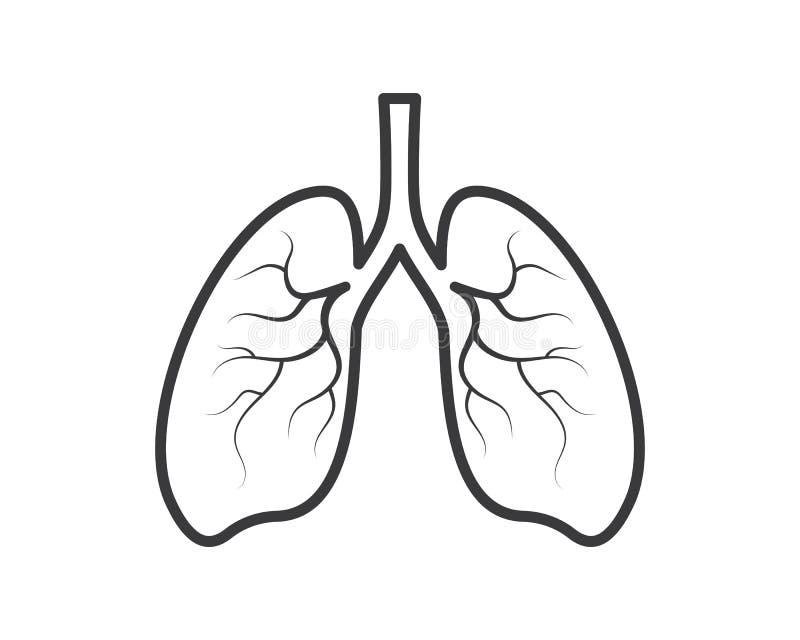 ludzkiej płuco logo ikony wektorowy ilustracyjny projekt royalty ilustracja